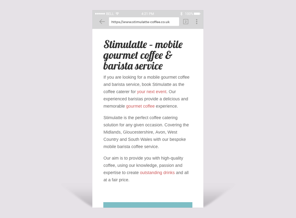 Stimulatte Coffee Mobile Friendly Website Design