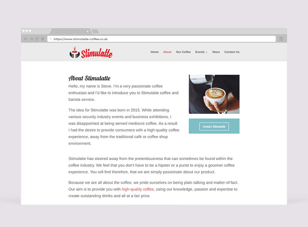 Stimulatte Coffee Website Design