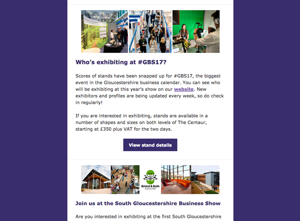 Gloucestershire Business Show Email MailChimp template