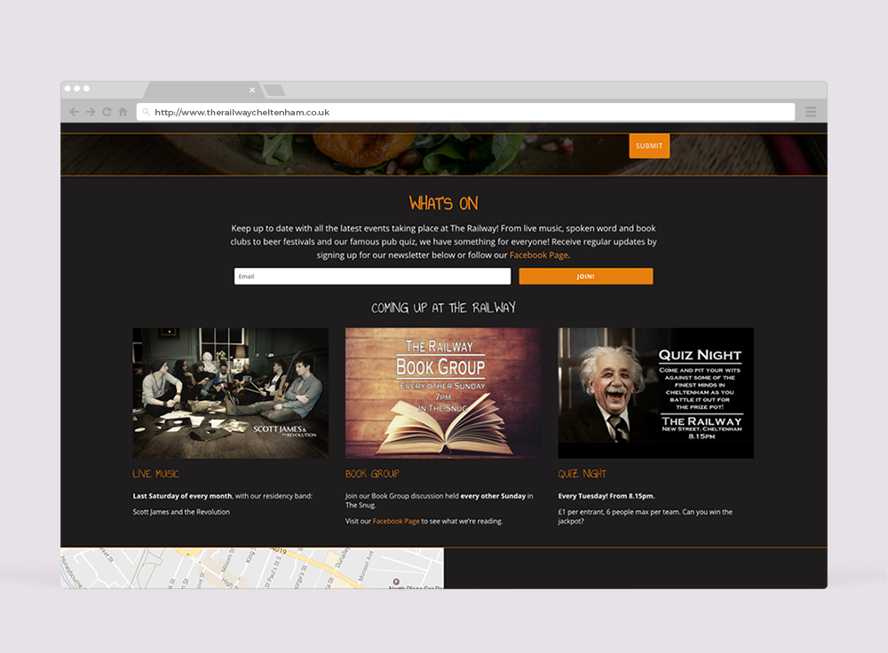 The Railway Cheltenham Website-Design, Whats on section