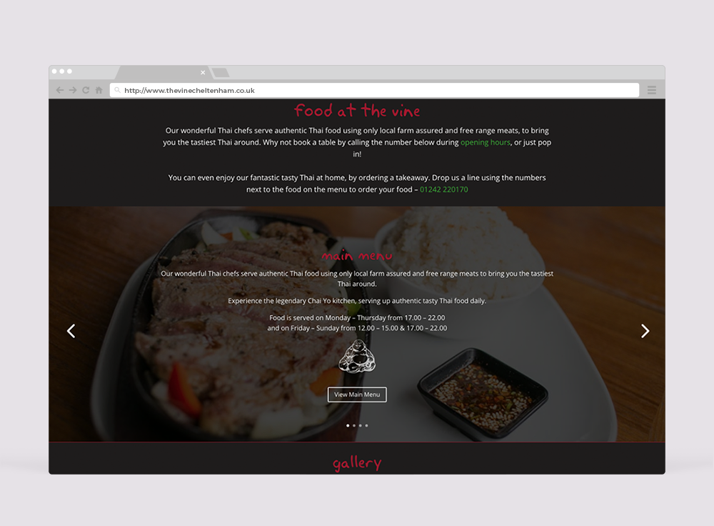 The Vine Cheltenham Website Design